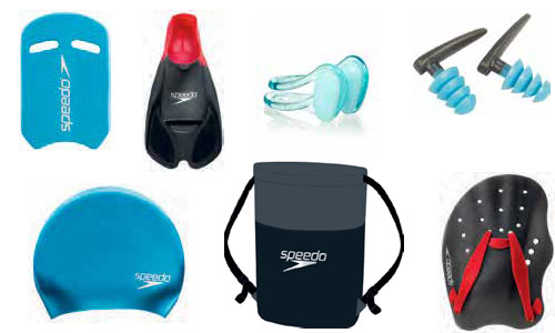 Swim caps, paddle floats, nose clips and ear plugs and pool bags
