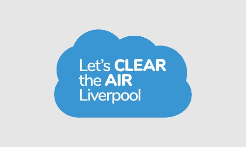 Blue cloud with text saying Let's Clear the Air Liverpool